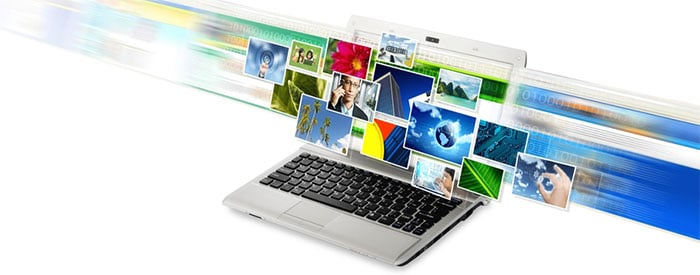 Different types of images over a laptop